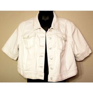 Lane Bryant White Denim Cropped Jacket Size 18